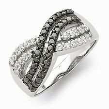 "STERLING SILVER POLISHED BLACK AND CLEAR CZ "" X "" RING  -  SIZE 6"