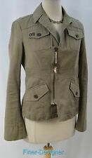 Authentic DIESEL military light coat zip jacket moto army green shabby SZ M $298
