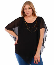 Womens Yummy Plus Black Chiffon Asymmetrical Top with Necklace Size 5X