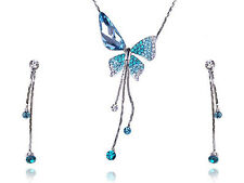 Delicate Sapphire Blue Butterfly Dangle Crystal Rhinestone Necklace Earring Set