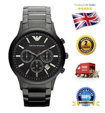 NEW Emporio Armani AR2453 Men's Black Stainless Steel Chronograph Quartz Watch