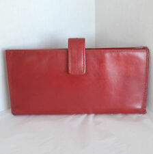 Franklin Covey Passport Travel Wallet Case Red Leather Clutch Document ID Holder