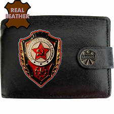 Klassek Soviet Badge Mens Leather Wallet USSR Cold War Russia Russian Emblem