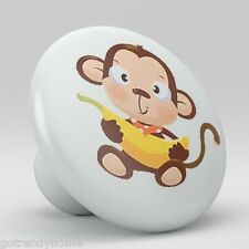 Cute Monkey Banana Ceramic Knobs Pulls Kitchen Drawer Cabinet Vanity Closet 562