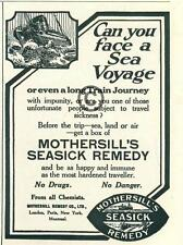 1926 Mothersill's Seasick Remedy AD Face a Voyage London Ship Waves Train Travel