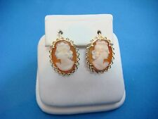 !EXQUISITE 18K YELLOW GOLD CAMEO EARRINGS SAFETY BACKS 3.4 GRAMS 16.5 X 12.5 MM