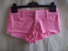 "Ladies Shorts - Topshop Moto, 26""W PETITE, neon pink, denim, frayed, sexy - 1685"