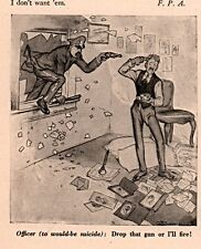 1923 CARTOON INWOOD ART WOULD BE  SUICIDE COP SAYS DROP THE GUN OR ILL SHOOT