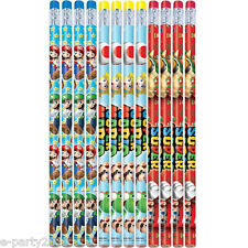 SUPER MARIO PENCILS (12) ~ Birthday Party Supplies Favors Stationery Video Games