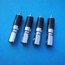 4pcs Carbon Fiber Rhodium plated RCA Male plug connector tail hole 8.5MM