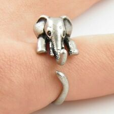 New Boho Antique Silver/Gold Cute Baby Elephant Adjustable Wrap Finger Ring
