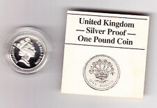 1986 Royal Mint Silver Proof £1 One Pound Coin COA & Box