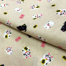 [ON SALE]1/2YD Oriental Asian Japanese Style cute fabric sewing -ivory cat