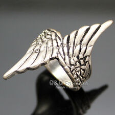 Vintage Silver Double Angel Guardian Wing Carve Feather Band Finger Ring Gift