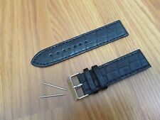 24 MM BLACK HIGH QUALITY PADDED LEATHER WATCH BAND STRAP Fits ROLEX & BREITLING