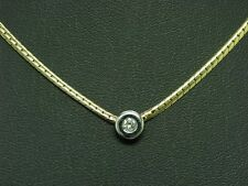 14kt 585 BICOLOR GOLD COLLIER MIT BRILLANT SOLITÄR BESATZ / DIAMANT / 38 cm