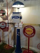 CLASSIC FORD GAS PUMP STATION ISLAND LIGHT WITH TOWEL BOX