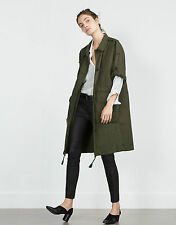 ZARA KHAKI GREEN PARKA WITH ROLL-UP SLEEVES,Size M