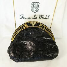 FINESSE LA MODEL NY Black KARUNG SNAKESKIN SHOULDER BAG Gold Crystals Enamel