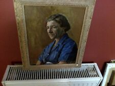 Fine 20th c,Framed English Oil on Board.Old Lady Study. Signed, Details Verso.