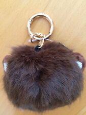 NEW faux fur brown monkey pom pom keyring, bag charm, Christmas gift?