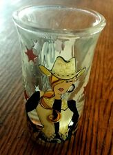 COWGIRL SHOT GLASS SADDLE UP BRONC LEAPORD LIQUOR