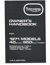 Triumph Owners Manual Book 1971 Bonneville T120R, Tiger TR6R & Trophy TR6C