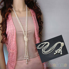 Beautiful Chic White Artificial Pearls Long Necklace Charms Sweater Chain B88U