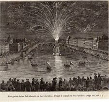 IMAGE 1878 ENGRAVING PARIS FEU D ARTIFICE FIREWORKS