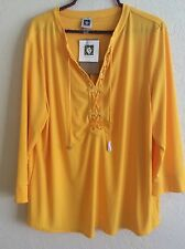 Anne Klein Knit Top Blouse Tunic Shirt Solid Bright Yellow XL X-Large NEW #N1116