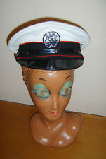 WHITE PVC OFFICER & GENTLEMAN NAVY NAVAL HAT BADGE FANCY DRESS UNIFORM COSTUME M