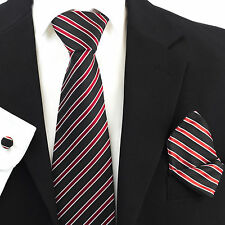 Black Red White Stripes 100% Pure Silk Neck Tie Cufflink and Handkerchief Set