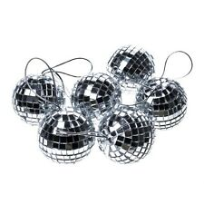 New Pack x 8 Silver Mirror Balls / Baubles Christmas Tree Decorations 50mm Size