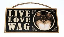 "Live Love Wag Chihuahua Dog Puppy Animal Pet  5""x10""  Wood Sign Plaque for Wall"