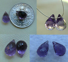Faceted briolette Amethyst beads AAA set of 2 premium quality fancy 5x8mm drops