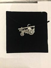 Showman Traction Engine PP-T12 Pewter Pendant on a  BLACK CORD  Necklace