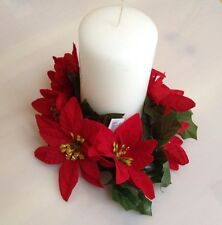 Red 7-Poinsettia Candle Ring Pillar Taper Christmas Home (Flower Decor Only)