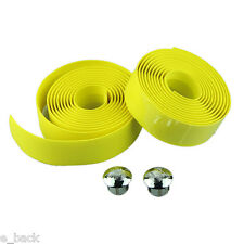 Cycling Handle Belt Bike Bicycle Cork Handlebar Tape Wrap +2 Bar Plug YELLOW