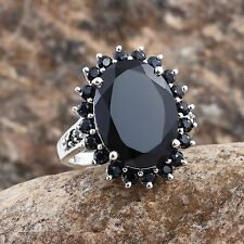 AMAZING BLACK SPINEL 14.70 CTS IN PLATINUM OVER STERLING SILVER, SIZE 10