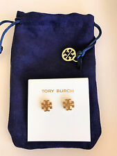 TORY BURCH 16K Gold-Plated T-Logo Stud Earrings With Dust Bag NEW