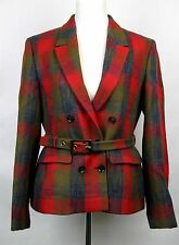 $2550 New Gucci Womens Plaid Check Wool Belted Jacket Coat 48 319225 3603