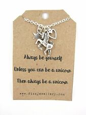 Silver Unicorn Heart & Star Charm Cluster Message Quote Card Necklace New