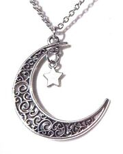 SILVER MOON & STAR CHARM PENDANT NECKLACE filigree crescent Astrology fantasy W5