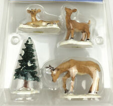 Christmas tree and Deer VILLAGE COLLECTION COURTYARD CAROLERS Set