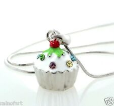 "W Swarovski Crystal White Cupcake Vanilla 3D Cake Pendant Necklace 18"" Chain"