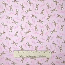 Bunny Fabric - Easter Woodland Rabbit Toss Light Pink  - Timeless Treasures YARD