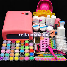 Pro 36W UV Lamp Light Cure Dryer Gel Polish Nail Art Tips File Glitter Kit Set