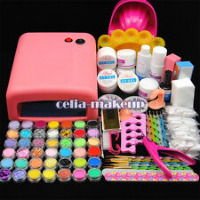 36W UV Lamp Light Cure Dryer Gel Polish Nail Art Tips File Glitter Kit Set