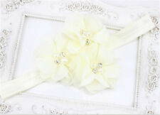 1pcs Baby Kid Beige Chiffon Pearl Rhinestone Flower Headwear Headbands Hair Bows