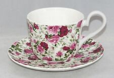 Crown Trent Fine English Bone China Tea Cup & Saucer Set  SUMMERTIME PINK CHINTZ
